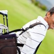 Man with a golf sack — Foto Stock