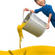 3D man throwing yellow paint — Stock Photo #8851892
