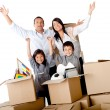 Family excited moving house — 图库照片