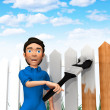 Stock Photo: 3D man painting the fence