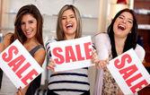 Saleswomen on sale — Stock Photo