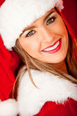 Beautiful female Santa — Photo