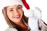 Kobieta uśmiechając się santa — Zdjęcie stockowe