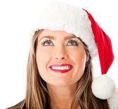 Thoughtful female Santa — Stock Photo