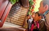 Kids waiting for Santa — Stock Photo