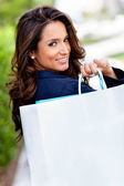 Shopping woman outdoors — Stok fotoğraf