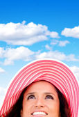 Summery woman with hat — Stock Photo