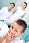 Scared boy at the dentist — Stock Photo