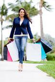 Female shopper con bolsas — Foto de Stock