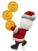 3D Santa balancing coins — Stock Photo