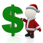3D Santa with a dollar sign — Stock Photo