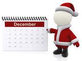 3D Santa with a calendar — Stock Photo