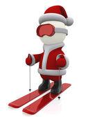 3D Santa skiing — Stock Photo