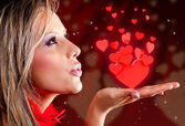 Woman celebrating Valentines day — Stock Photo