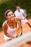 Tenis oynarken çift — Stok fotoğraf