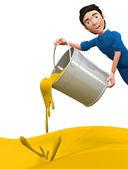 3d mann wirft gelbe farbe — Stockfoto
