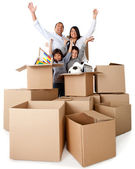 Family excited about moving — Stock Photo