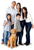 Family with a dog — Stock Photo