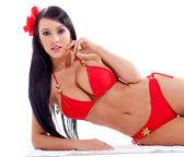 Woman in red bikini — Stock Photo