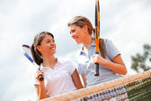 Female tennis players — Stock Photo