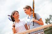 Jugadores de tenis femenino — Foto de Stock