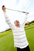 Man winning at golf — Stock Photo
