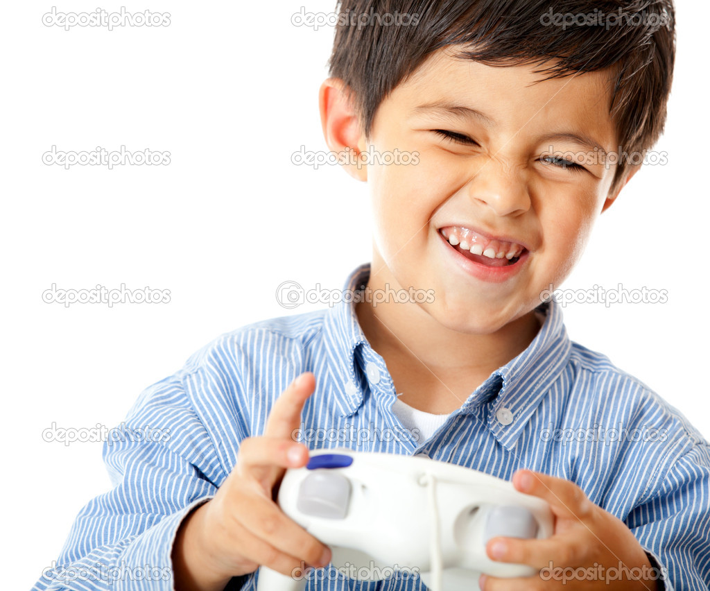 Boy playing video games holding a control - isolated over a white background — Stock Photo #8851766