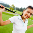 Fille jouant au golf — Photo