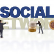 3D financial social network — Stock Photo