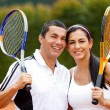 Stock Photo: Tennis couple