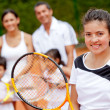 Tennis player with her family — Stock Photo