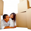 Stock Photo: Loving couple moving house