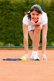 Tennis woman racing — Stock Photo