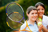 Friendly tennis players — Stock Photo