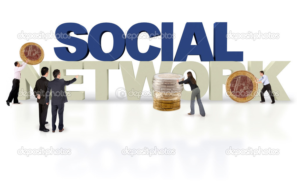 Financial social network  isolated over a white background - 3D text — Stock Photo #8901791