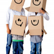 Stock Photo: Cardboard family characters
