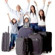 Family with luggage — Stock Photo