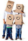 Cardboard family characters — Stock Photo
