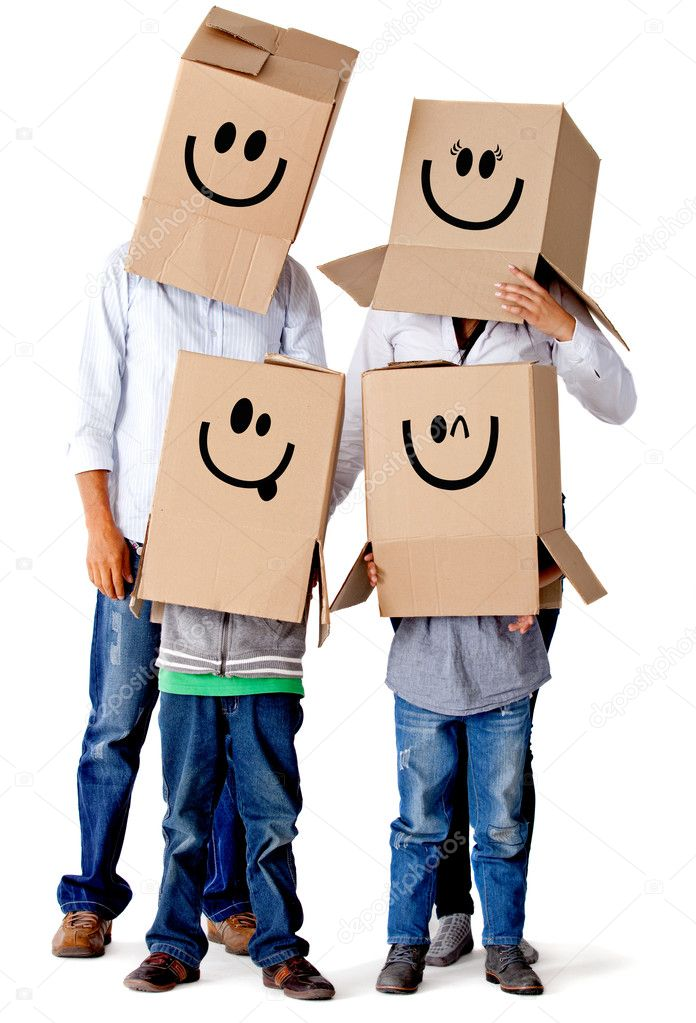 Cardboard family characters - isolated over a white background — Stock Photo #8927502