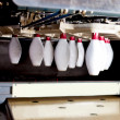 Machine placing bowling pins — Stock Photo