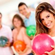 Woman bowling — Stock Photo