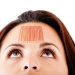 Frau mit einem barcode — Stockfoto