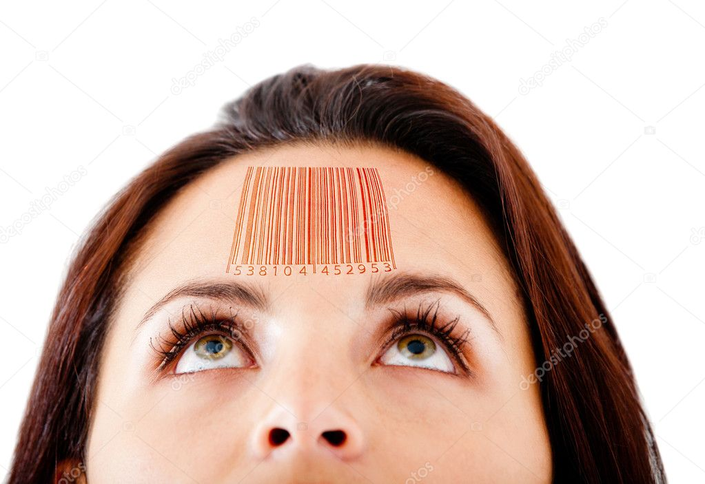 Woman with a barcode in her forehead selling knowledge - isolated over white — Stock Photo #8954054