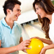 Stock Photo: Couple bowling for date