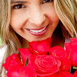 Stock Photo: Woman with roses