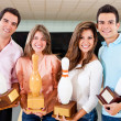 Winning a bowling trophy — Stock Photo