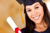 Beautiful woman graduating — Stock Photo