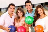 Friends bowling — Stock Photo