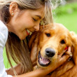 Woman with cute dog — Stockfoto