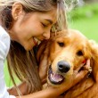 Stock Photo: Woman with cute dog